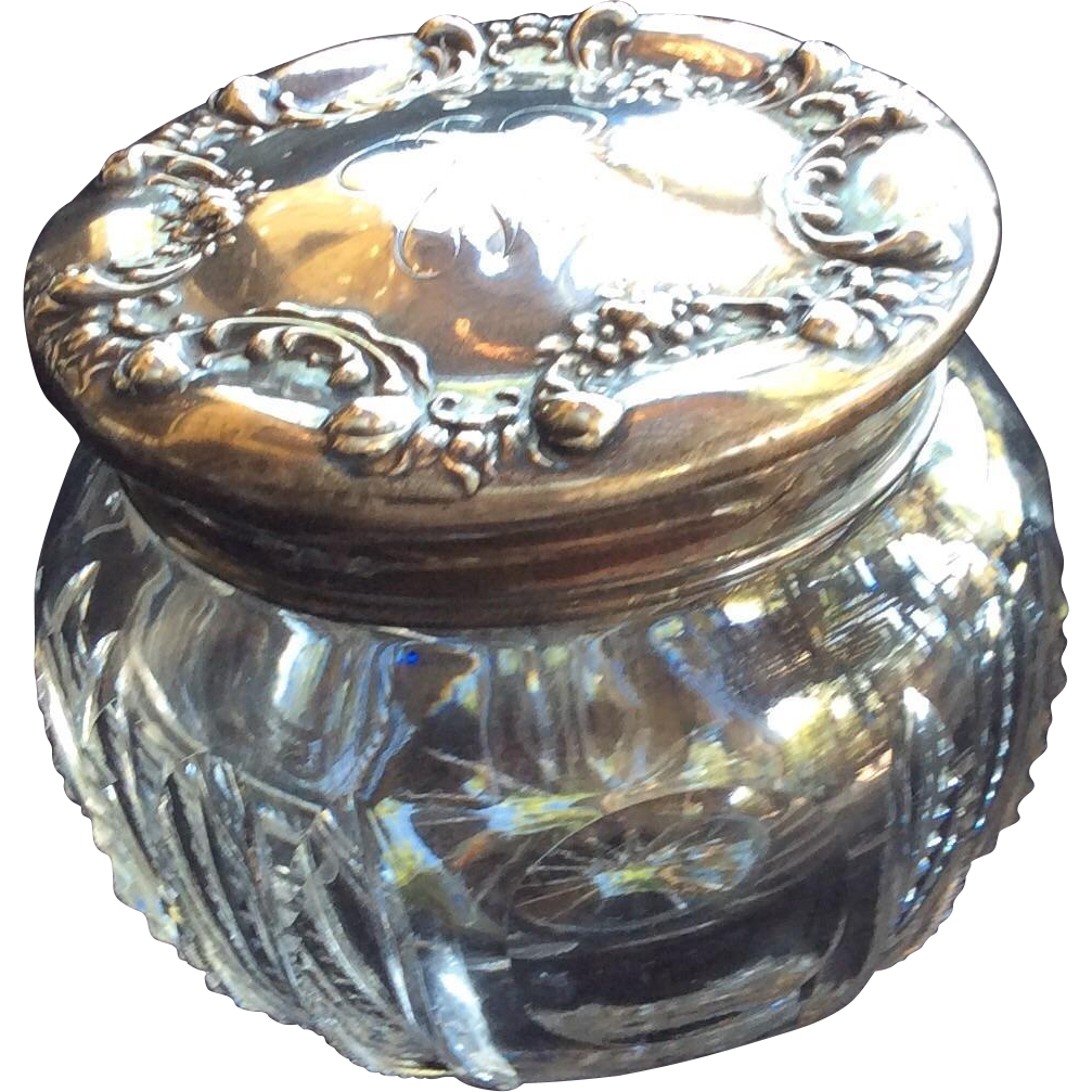 Ornate Sterling silver Topped Crystal Dresser Jar Powder Box with Flower Swags