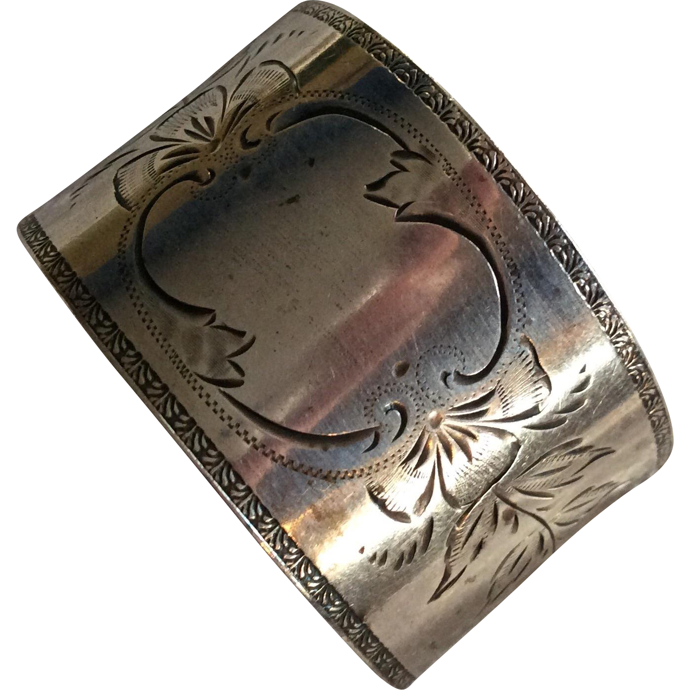 aesthetic engraved sterling silver napkin ring by frank