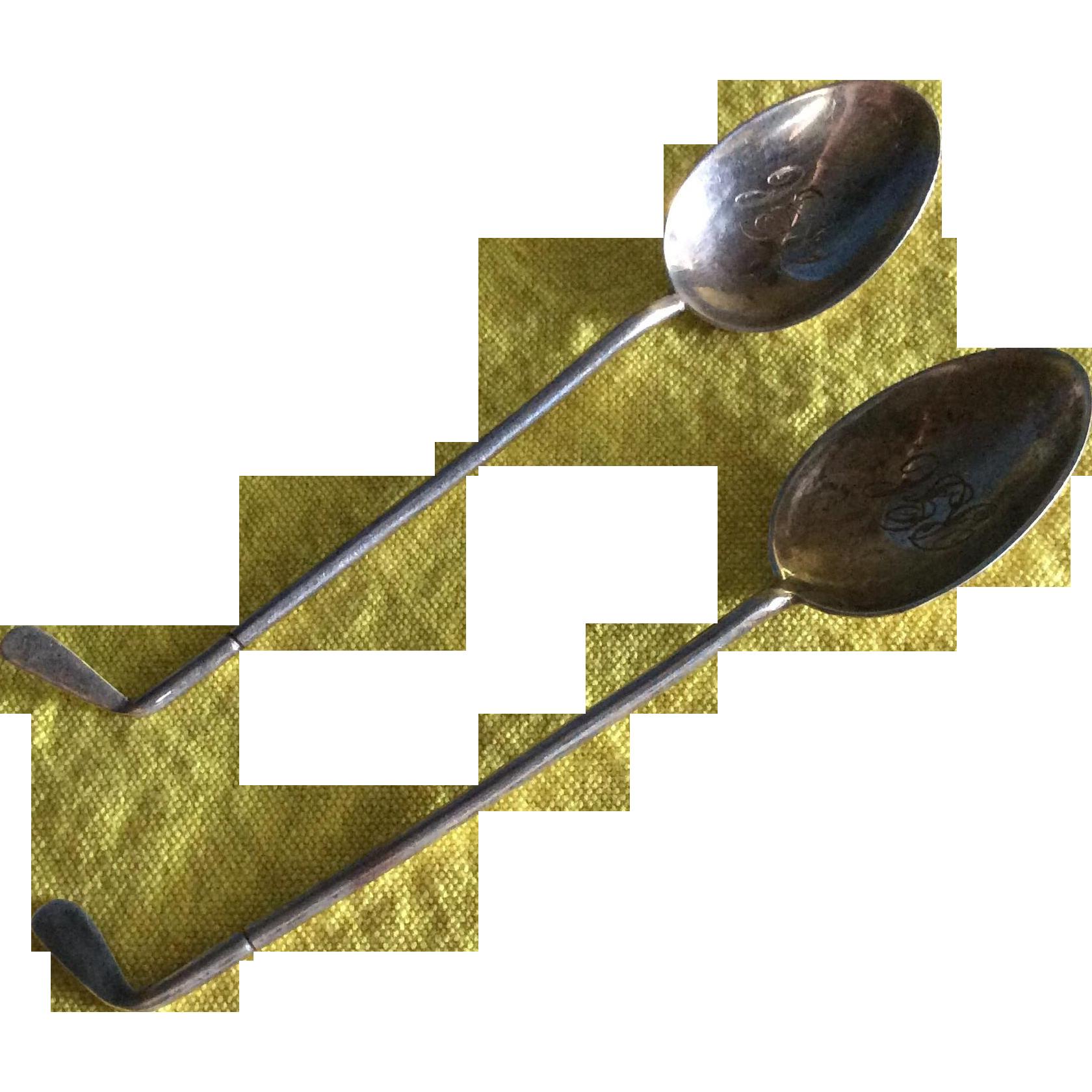 Pair English Sterling silver Golf Club Handle Spoons