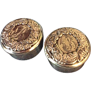 Pair Repousse Sterling silver Round Boxes