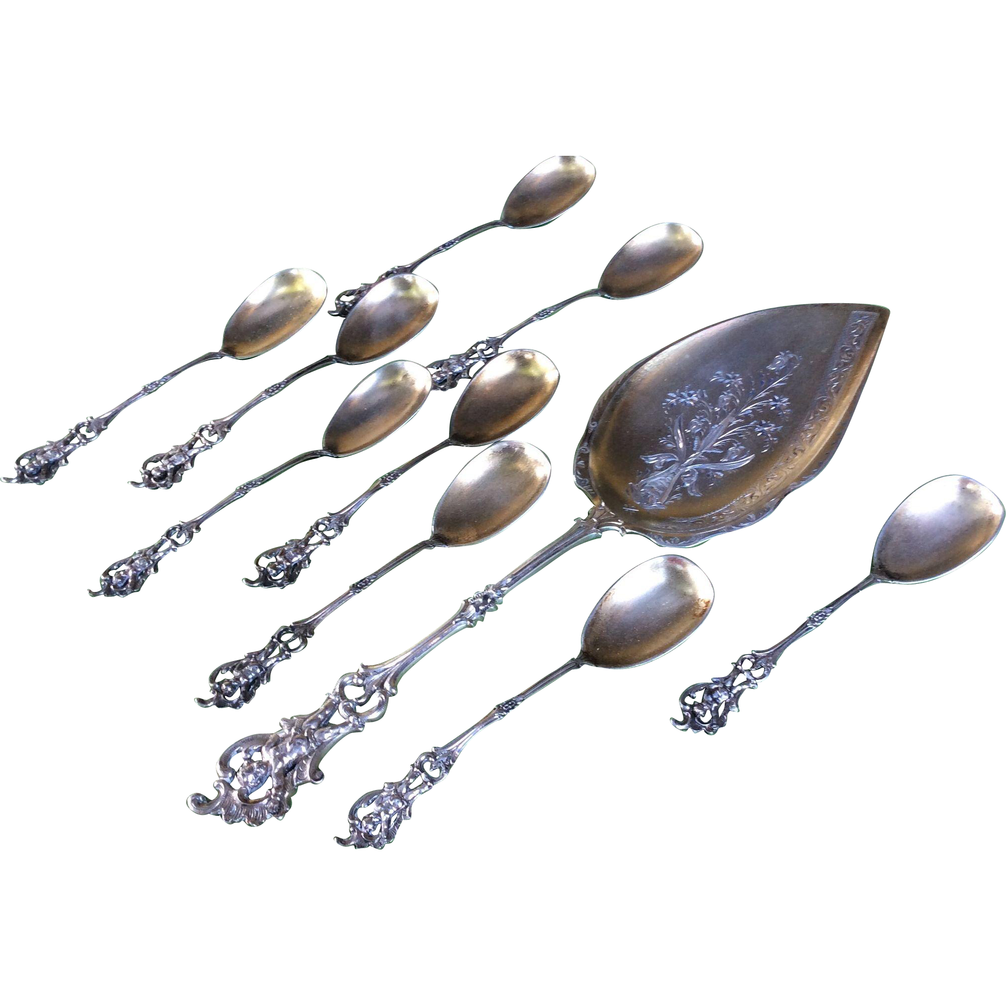 10 Piece German 800 Sterling silver Cherub Cupid Dessert or Ice Cream Set