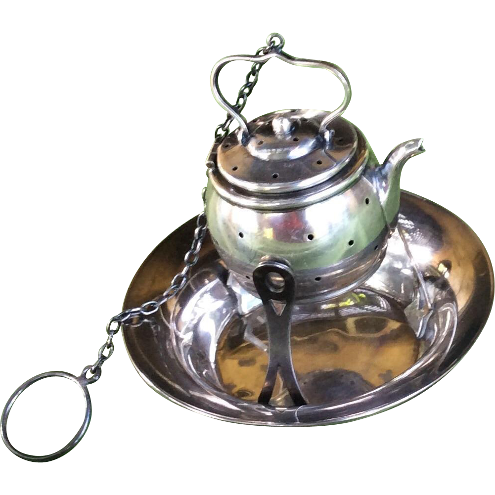 Sterling Silver Tea Pot Shaped Tea Ball Strainer On Cool