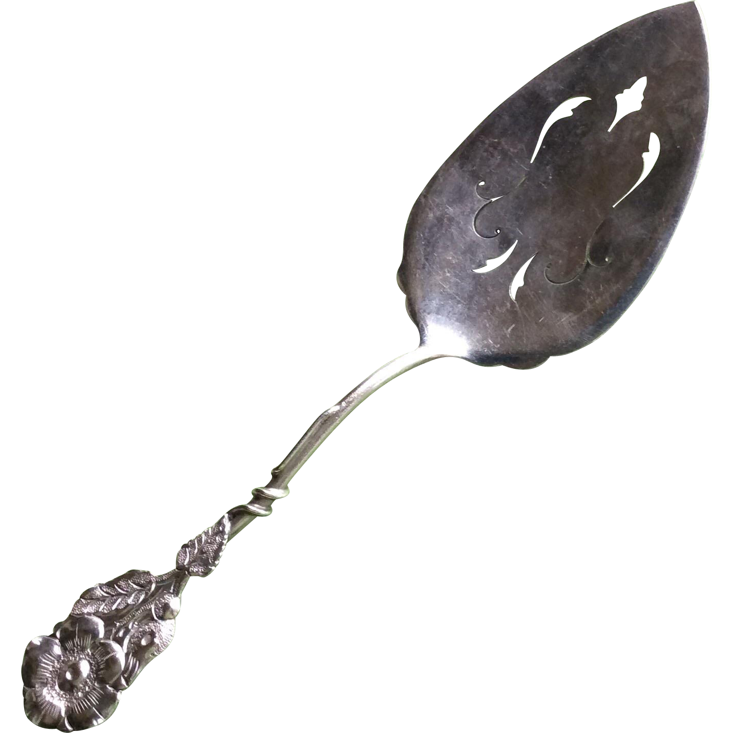 Gorgeous Figural Flower Sterling silver Pierced Blade Pie Server
