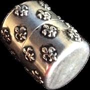 Fleur de Lis Sterling silver Cylindrical Spool Holder Thread Box