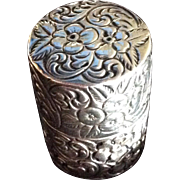 Repousse Cylindrical Sterling silver Box