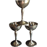 3 Sterling silver Wine Goblets by Gorham