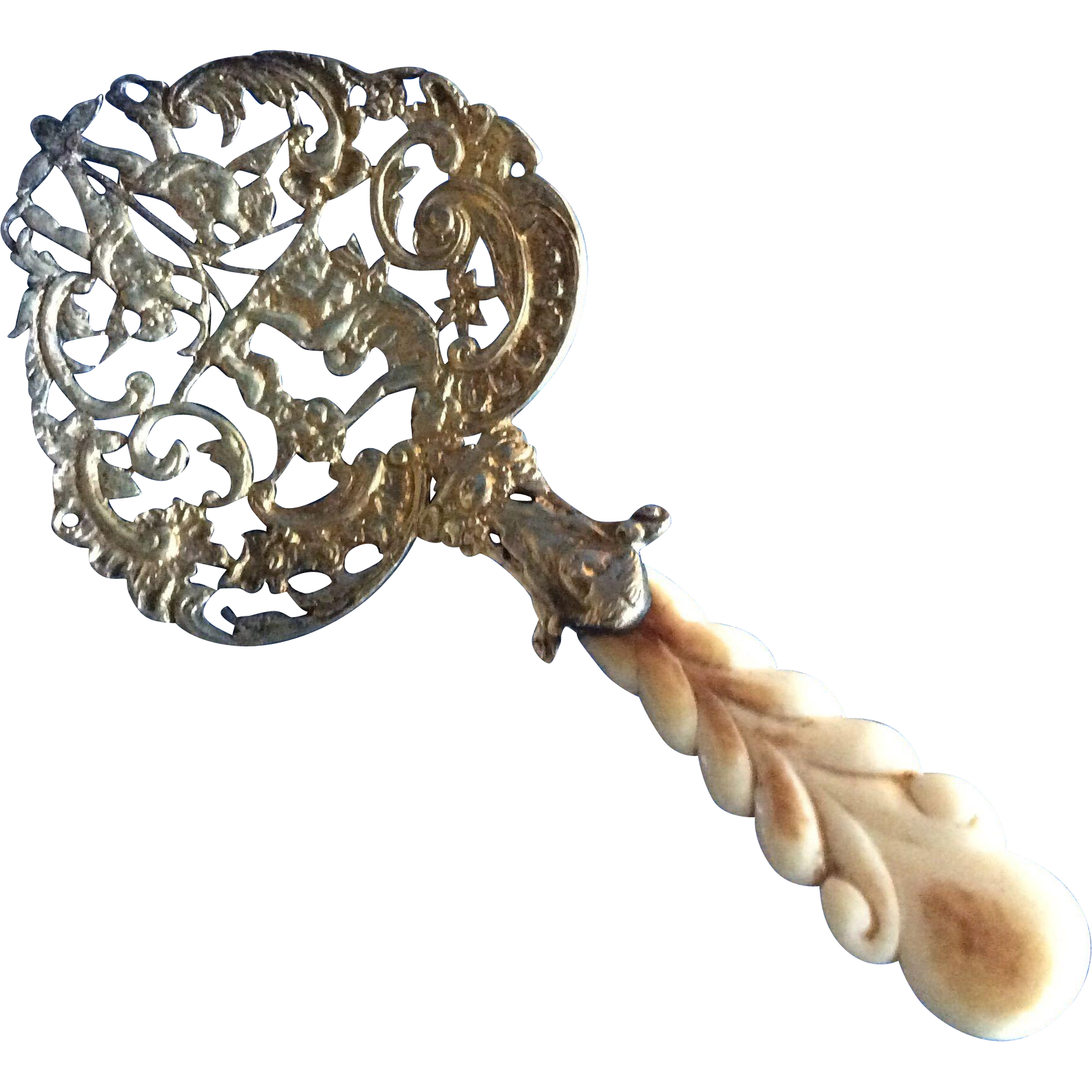 Gorham Sterling silver Gold Wash Cast Cherub Bon Bon Spoon