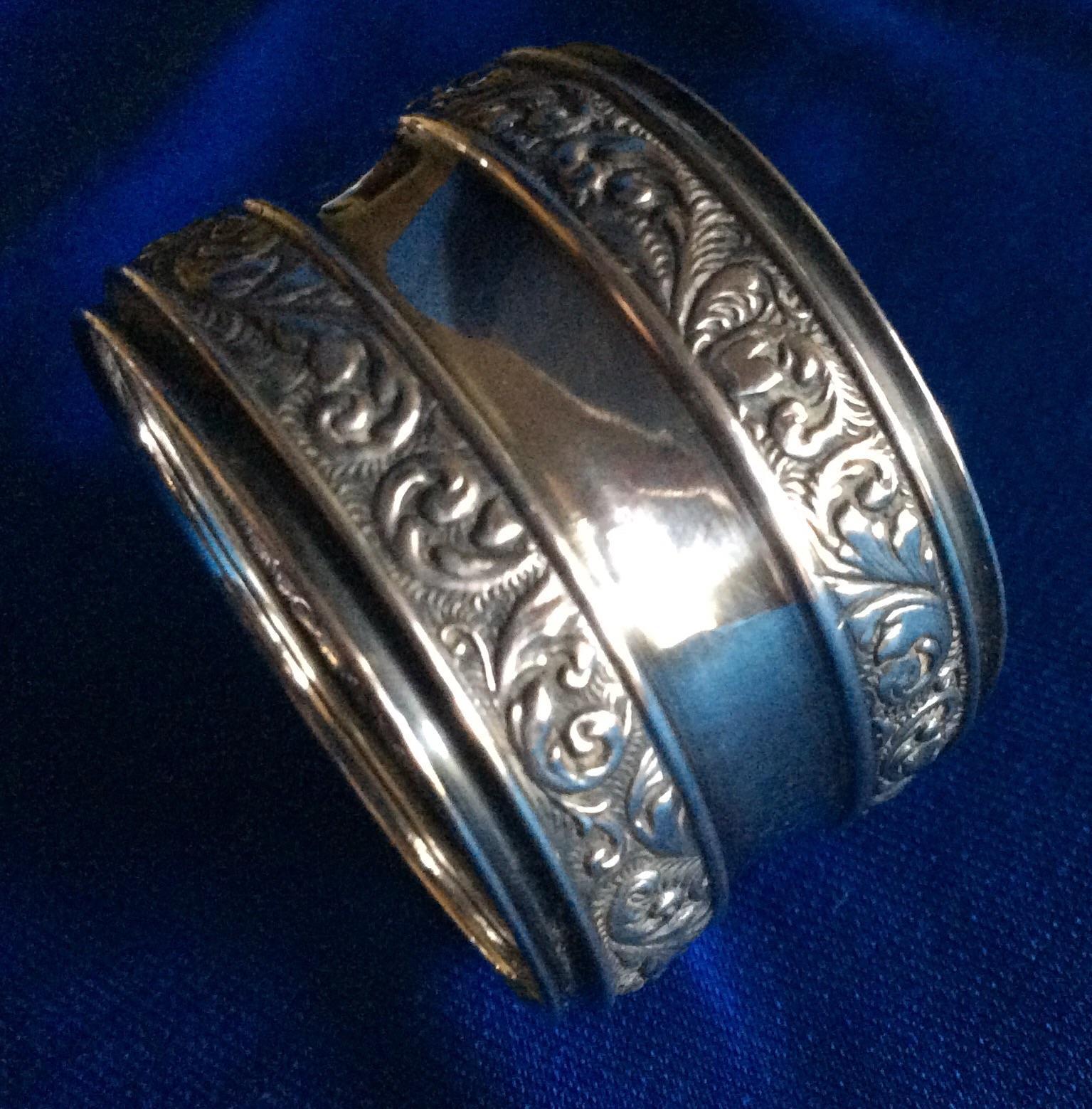 sterling silver foliate napkin ring serviette holder by