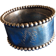 Towle beaded Sterling silver Napkin Ring Serviette Holder Engraved Charley 1899