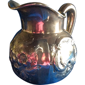 Whiting Chased Flowers Sterling silver Milk Jug Pitcher dated 1886
