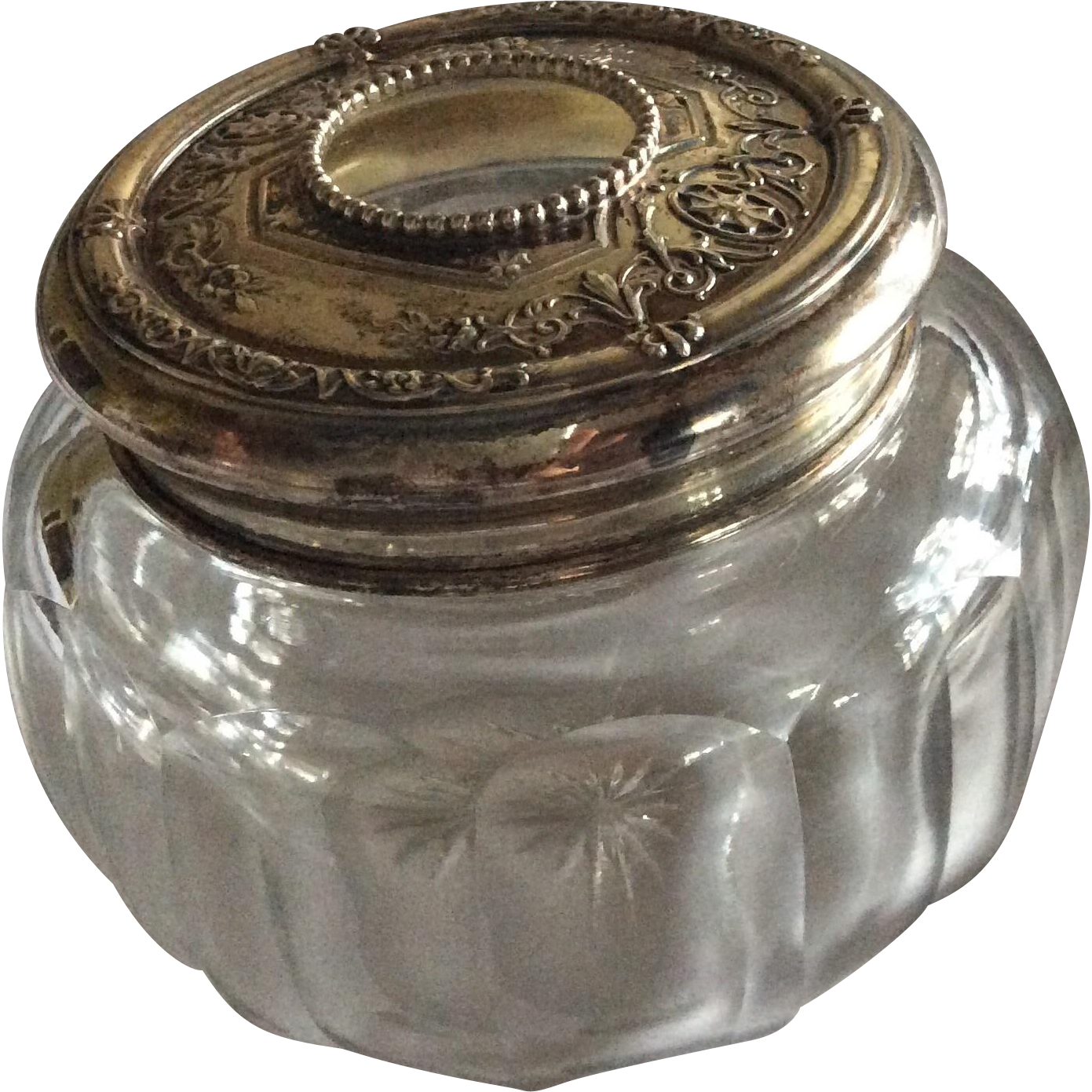 Ornate Sterling silver Topped Hair Receiver Dresser Jar