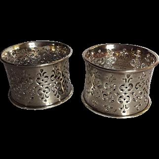 Pair ornate Pierced Sterling silver Napkin Rings Serviette Holders by Gorham