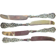 4 Rococo by Dominick and Haff all Sterling Silver Tea Knives or spreaders