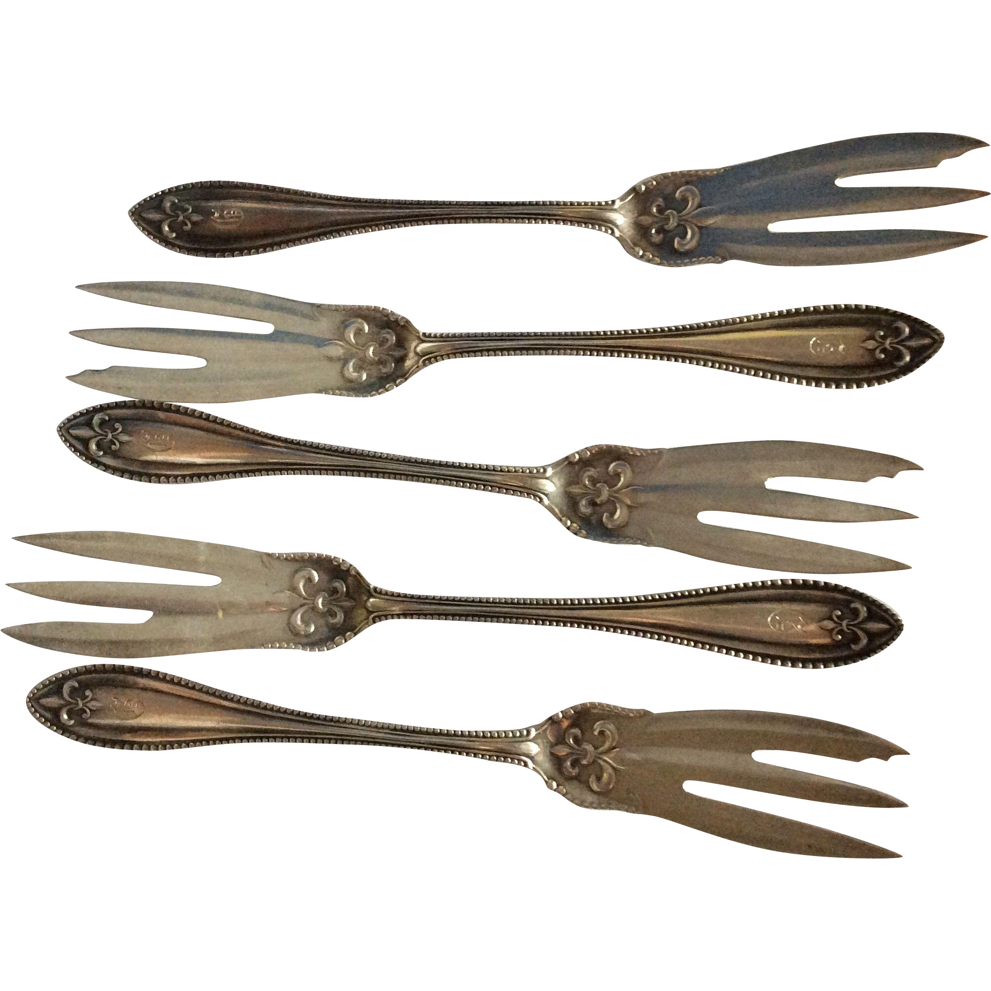5 Fleur De Lis Sterling silver Mystery Specialty forks by Newburyport silver Co.