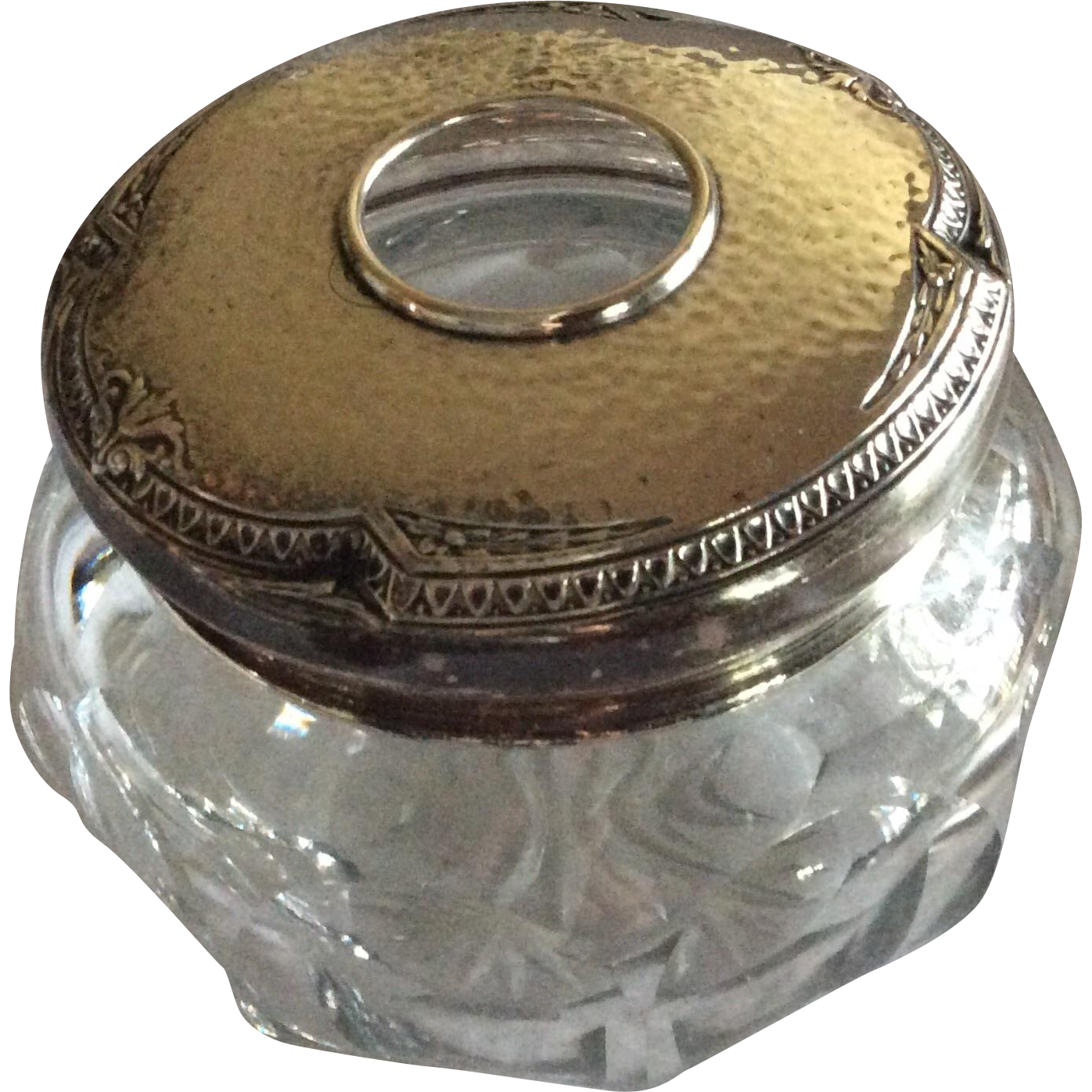 Hammered Sterling silver Topped Arts and Crafts Hair Receiver Dresser Jar