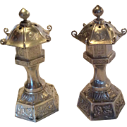 Japanese 950 Sterling silver Pagoda Dragon Salt and Pepper Shakers