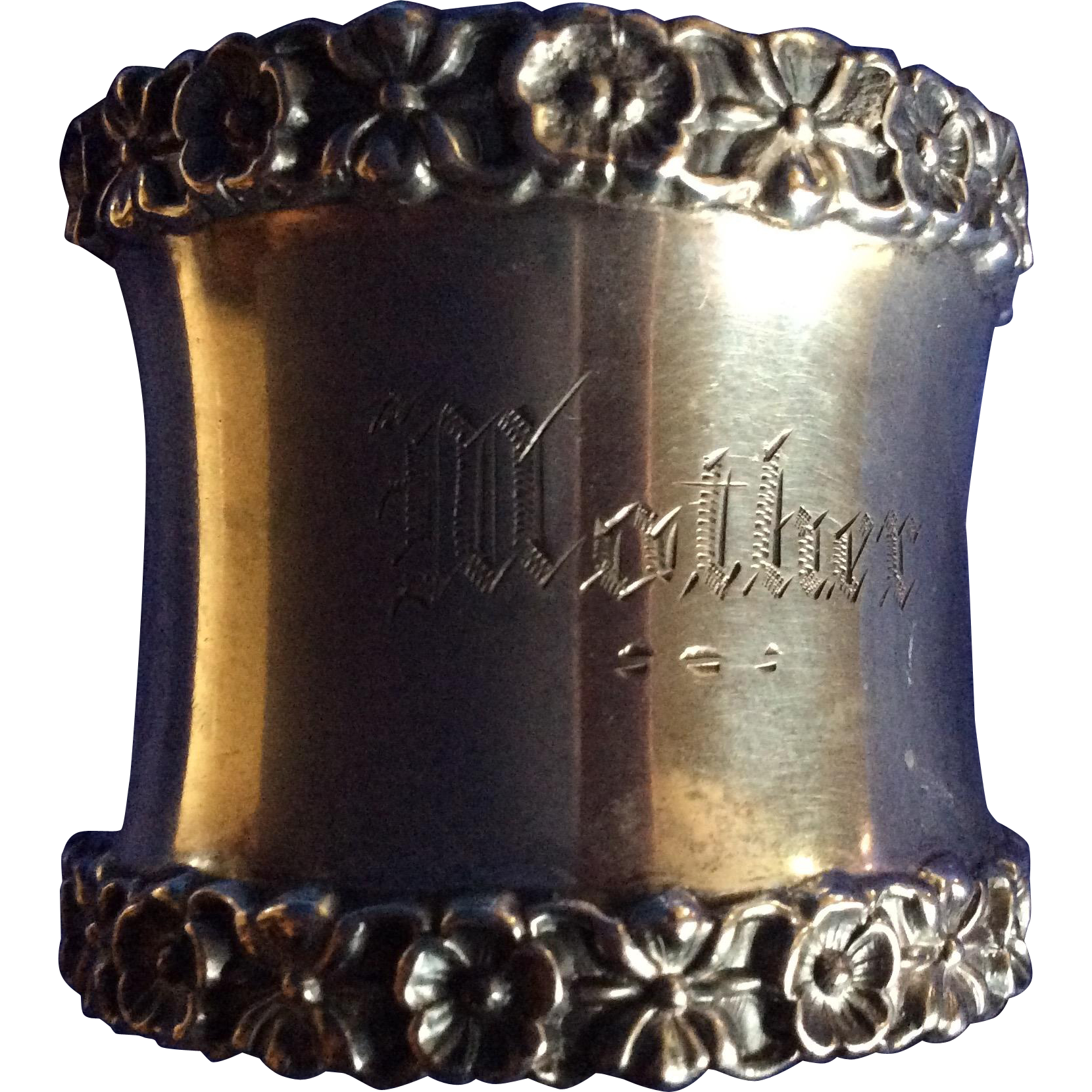 Repousse flowers Sterling silver Napkin Ring Engraved Mother