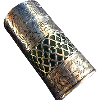 Edwardian English Sterling silver with Green Glass Perfume Bottle