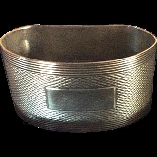 English engine turned Kidney Shaped Sterling silver Napkin Ring Serviette Holder