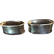 Pair German 835 Silver Hammered Napkin Rings Serviette Holders