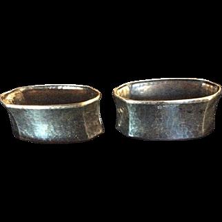 Pair German 835 Silver Hammered Napkin Rings Serviette Holders