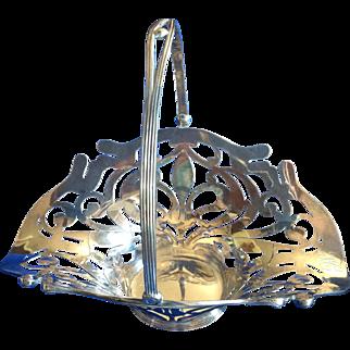 Art Nouveau Fleur de Lis Sterling silver Easter  Basket with Hinged Handle