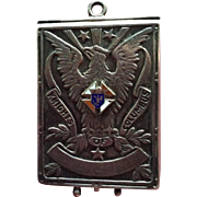 Knights of Columbus Sterling silver Enamel Card Case for Chain Chatelaine or Fob