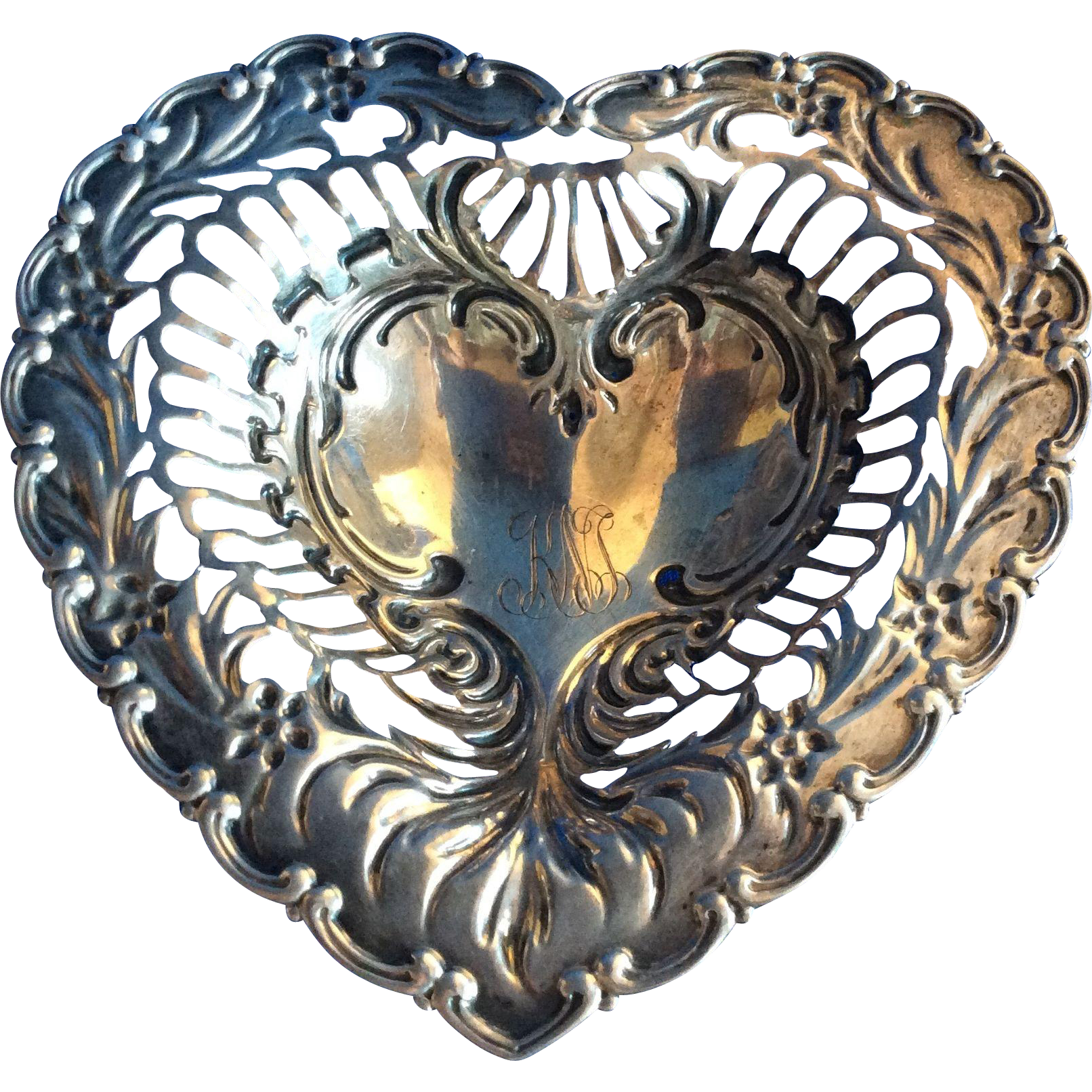 Ornate Footed Sterling silver Heart Shaped Dish by Whiting
