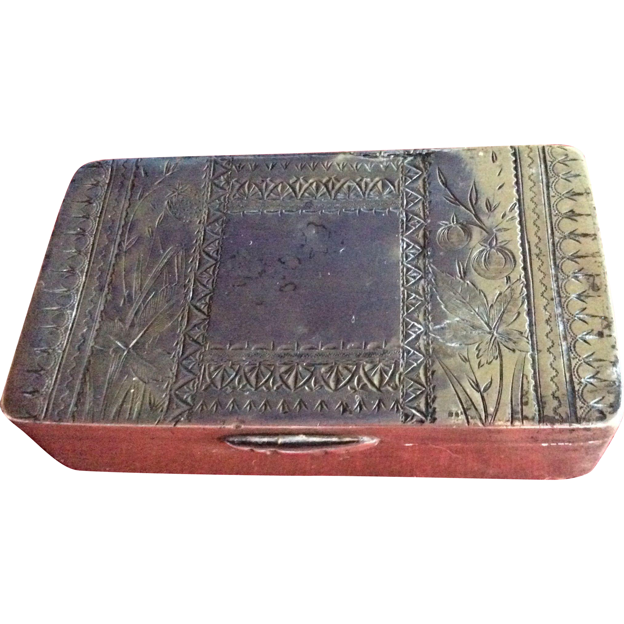 Ultimate Aesthetic engraved Sterling silver Box with Bird and Fruit