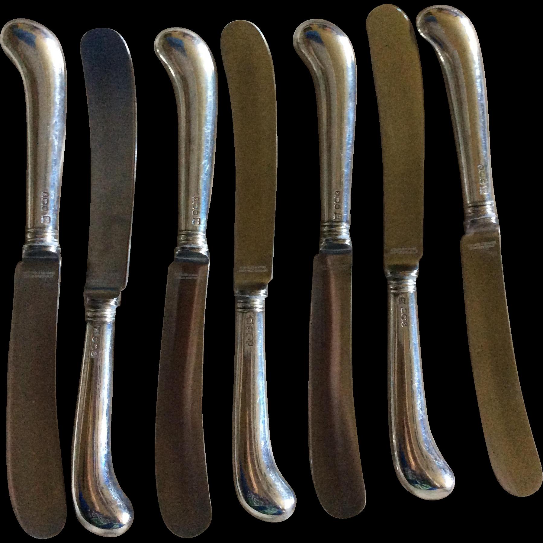 7 Pistol Grip English Sterling silver Spreader Knives