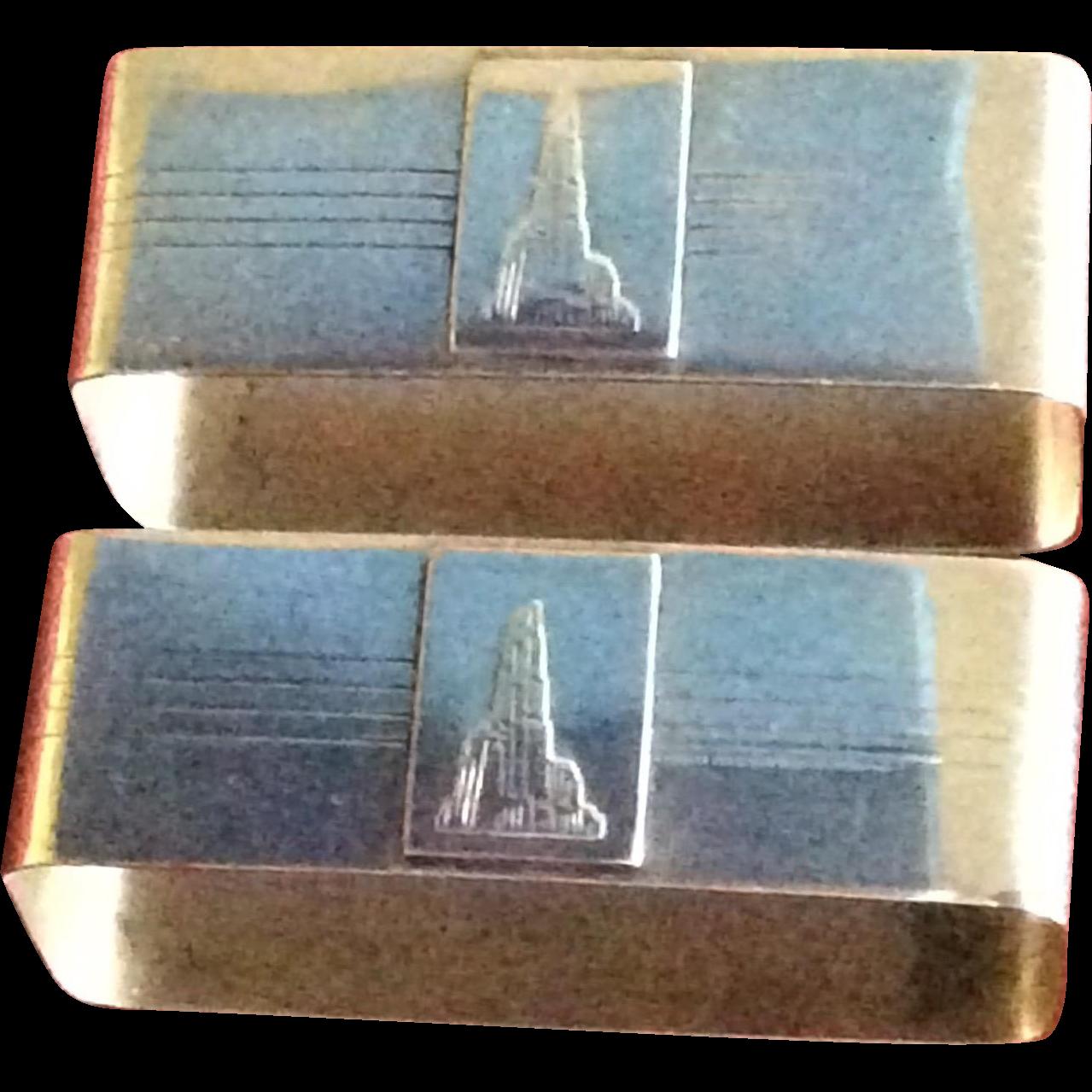 Pair Art Nouveau rectangular Napkin Rings or Serviette Holders