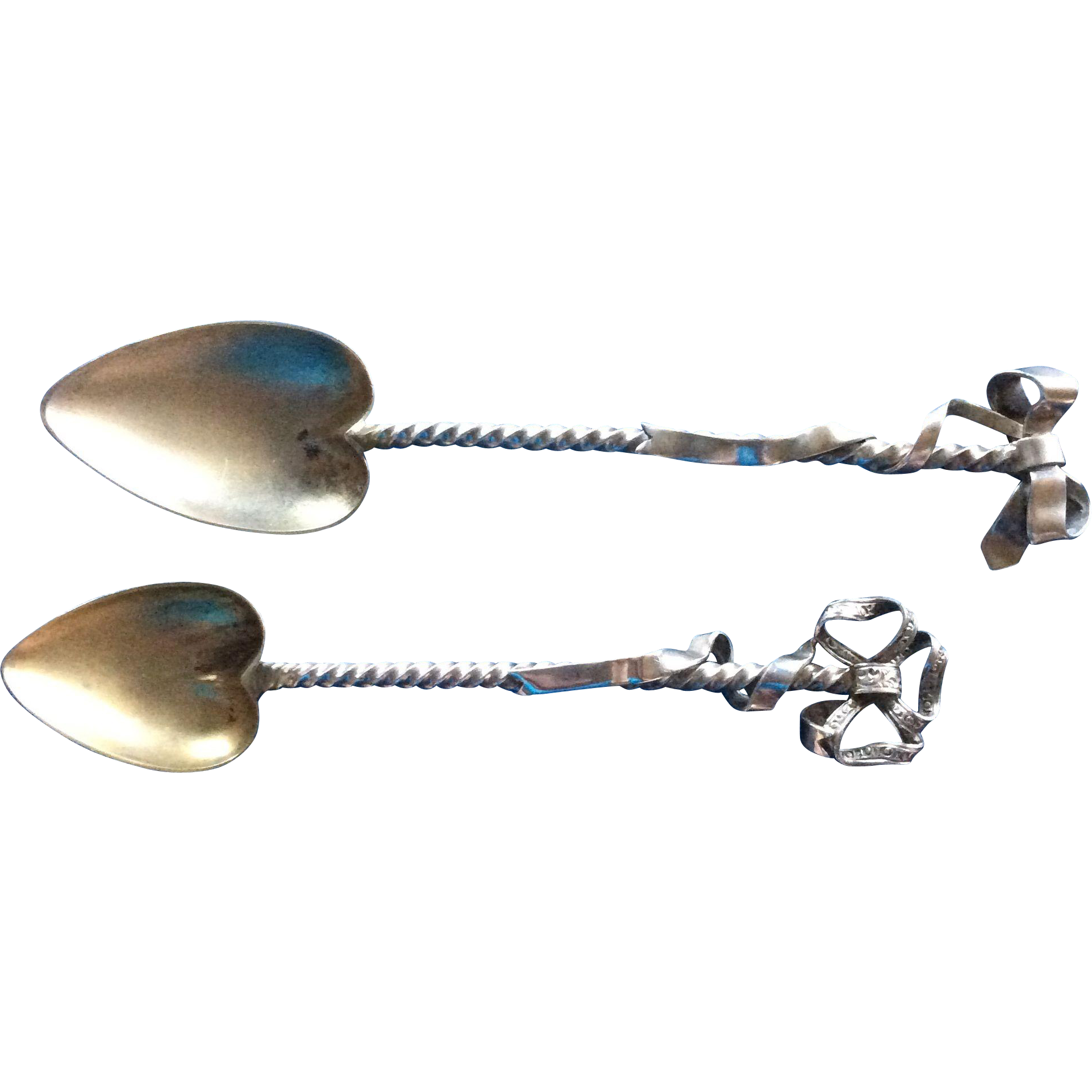 2 Sterling silver Demitasse Coffee spoons with Bows and Heart Shaped Bowls
