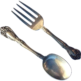 Chateau Rose by Alvin 2 piece Sterling silver Baby Set Fork and Spoon