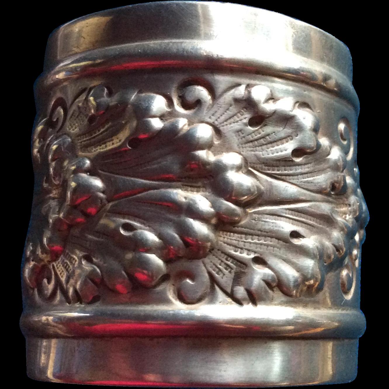 Huge Foliate Repousse Sterling silver Napkin Ring Serviette Holder