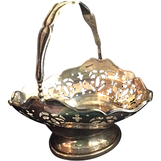 English Sterling silver Basket with Pierced Hearts