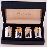 Sterling Silver Tiffany Salt and Pepper Shakers Set in Presentation Box
