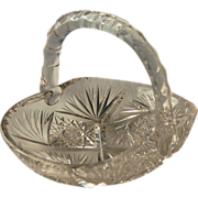 American Brilliant Period Cut Glass Basket with Handle