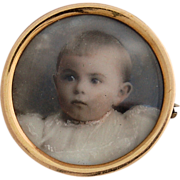 14k Gold Portrait Baby Pin Hand Painted Enhanced Miniature Photograph Late Victorian Edwardian