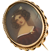 Hand Painted 14k Yellow Gold Miniature Portrait Pin Lovely Lady Edwardian Antique