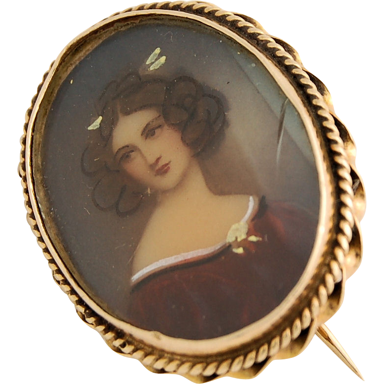 14k Yellow Gold Miniature Portrait Pin Hand Painted Lovely Lady Edwardian Antique