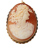 Large 14k Gold Carnelian Shell Cameo Hand-carved Oval Brooch Pendant Woman in Profile Classical Dress