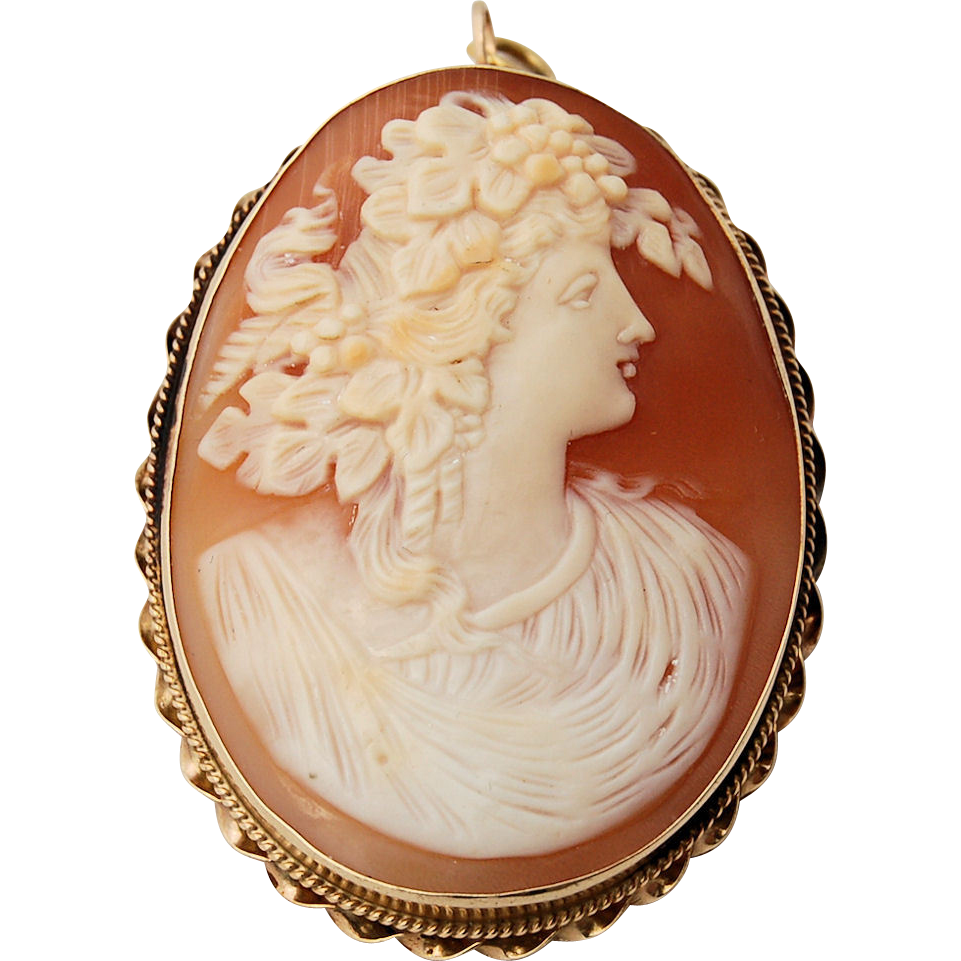 14k Gold Cameo Brooch Pendant Large Carnelian Shell Hand-carved Woman in Profile Classical Dress