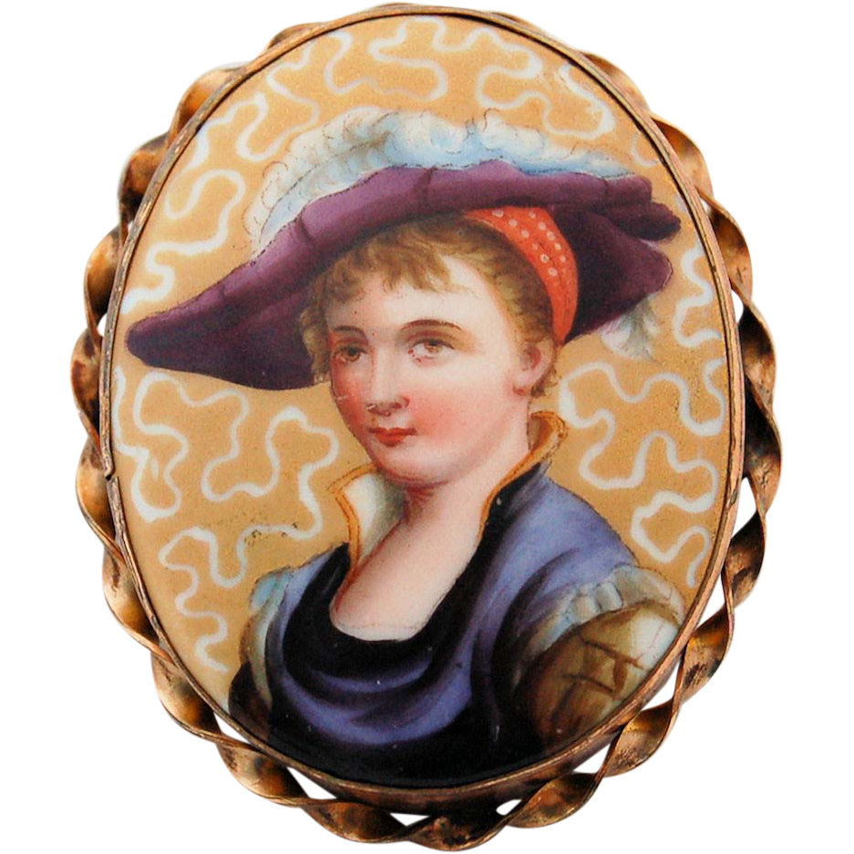Edwardian Miniature Porcelain Portrait Pendant Pin Lovely Lady