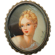 Miniature Portrait Pendant Brooch Pin Victorian Lady Signed by Artist 800 Silver Frame