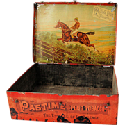 Antique Tobacco Tin Pastime Plug Tobacco Advertising Tin Box Equestrian Hunt Scene