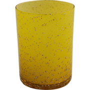 Victorian Spangled Art Glass Tumbler Decorated Mica Metallic Flakes Encased Yellow Glass