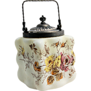 Wave Crest Biscuit Jar Puffy Egg Crate Rose Transferware Mt. Washington Circa 1890s