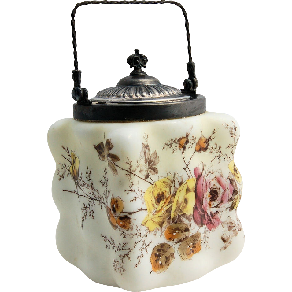 Wave Crest Biscuit Jar Puffy Egg Crate Rose Transferware Mt. Washington Circa 1890s