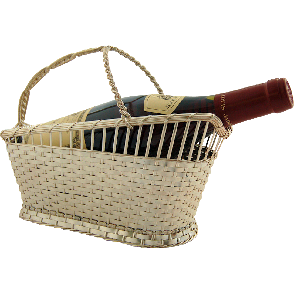 Silver Plated Wine Holder by Eisenberg Lozano Vintage French Woven Basket Marked France