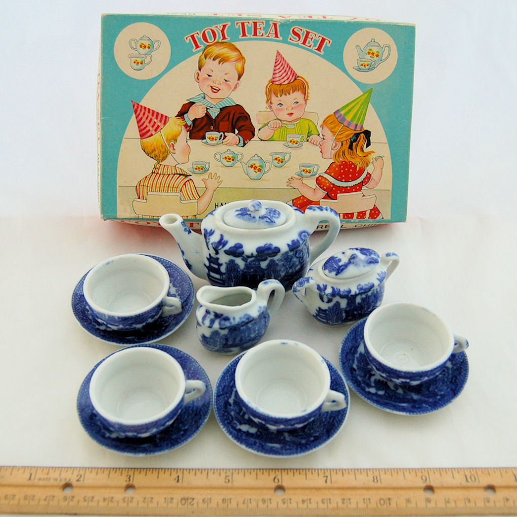Toy Tea Set : Blue willow toy tea set hand decorated real china made in
